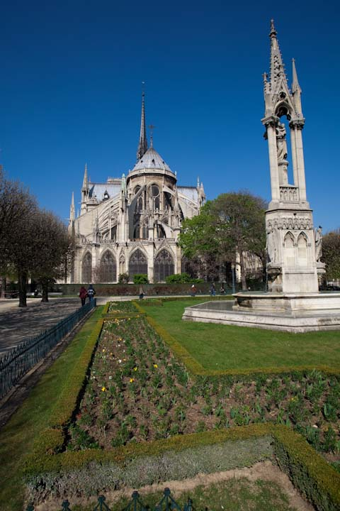 Most views of Notre Dame are from the front, but the architecture and grounds can be just as beautiful from the back.