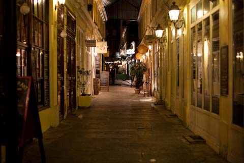 This alley near our hotel is a good example of what the streets look like after dark.