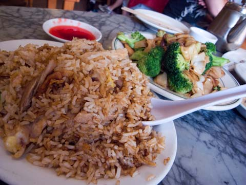 Fried rice and fried noodles at Sam Wo's
