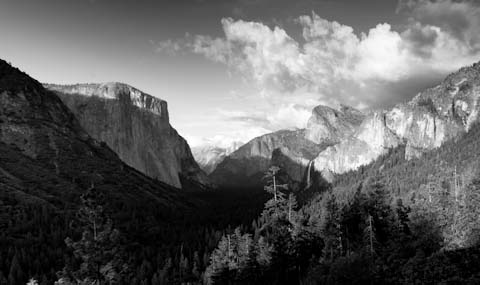 El Capitan (left), Half Dome (center background) and Bridalveil Falls (right)