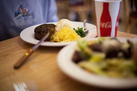 Wild Buffalo Meatloaf with spaghetti squash and garlic mashed potatos