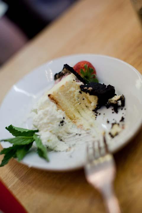 Dense, New York style cheese cake