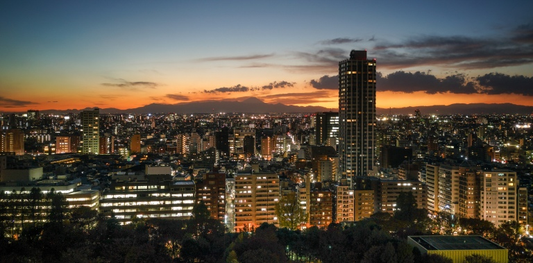 Tokyo's beautiful skyline and sunset with Mt. Fuji overlooking the city.