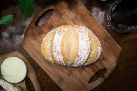 A fresh baked boule at home.