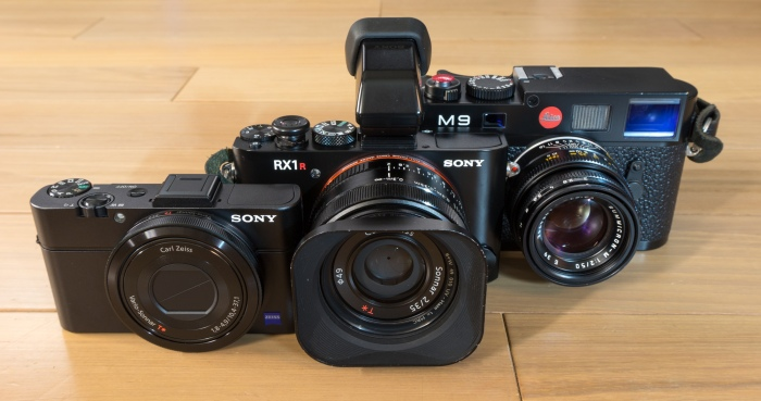 Relative sizes of each camera: Sony RX100 II, Sony RX1r and the Leica M9