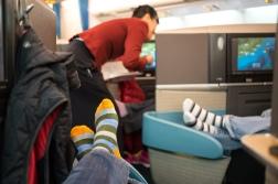Striped socks on deck.
