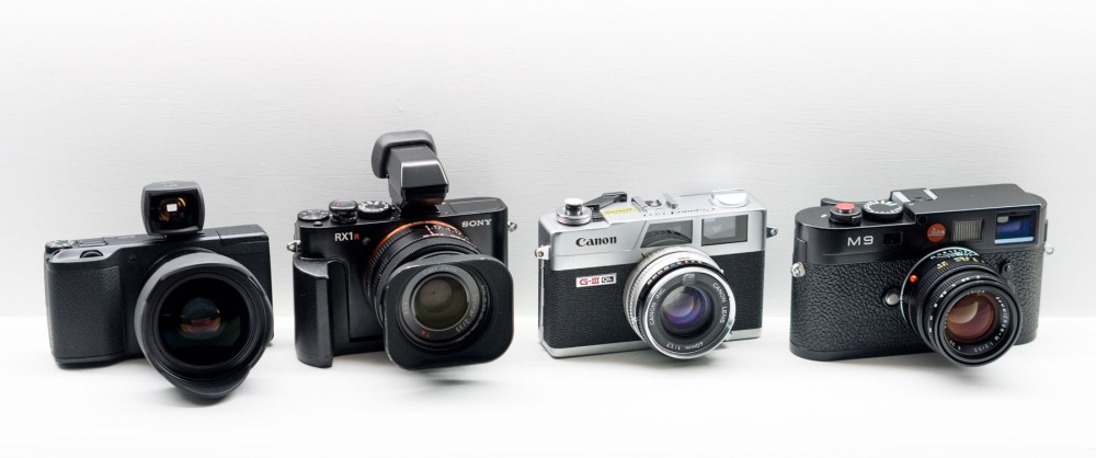 Current Line Up - (L to R) Ricoh GR, Sony RX1r, Canon Canonet QL17 GIII, Leica M9.