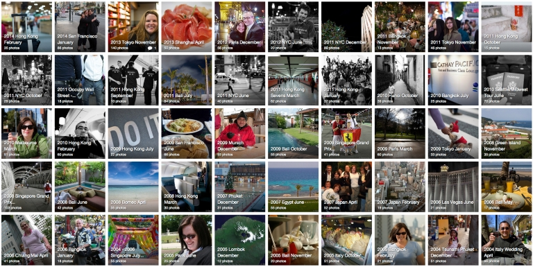 Screen shot of the updated Flickr gallery