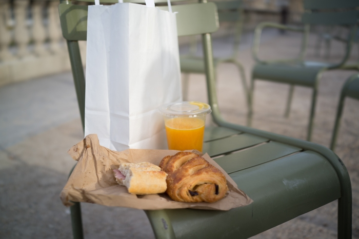 Breakfast: ham and cheese baguette, pain au chocolate and fresh squeezed orange juice