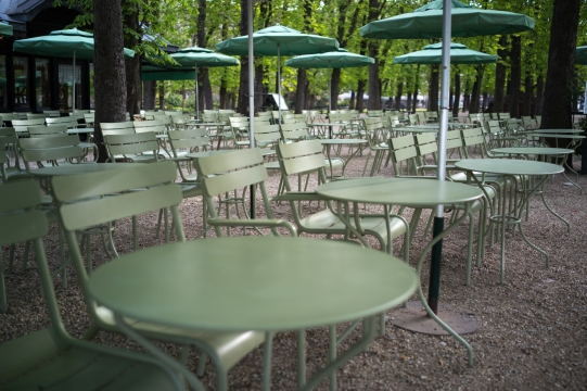 Café in the park ready for customers
