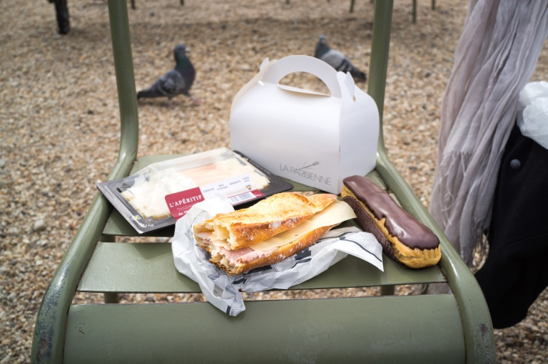 My idea of the best seat in the house.  Lunch in the park.