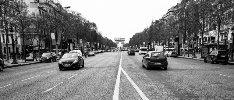 Looking down the Champs Elysees toward the Arc de Triomphe