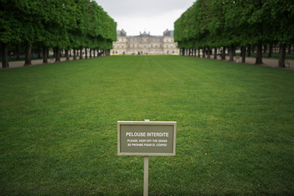 There are three large rectangular plots of grass in the front of Luxembourg Gardens and they rotate which piece you're allowed to sit on on different days.  This one isn't one of your choices today.