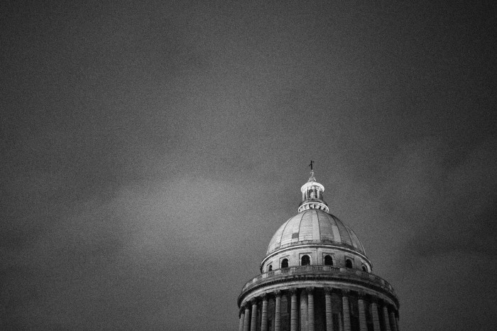The top of the Pantheon on an overcast night before the renovations started.