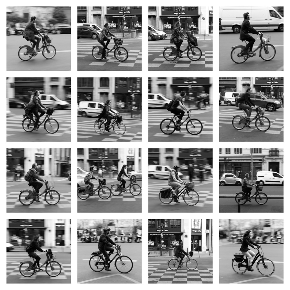 A contact sheet of some cyclist I found in Paris. This series was taken over the course of just a few minutes. Paris, France.