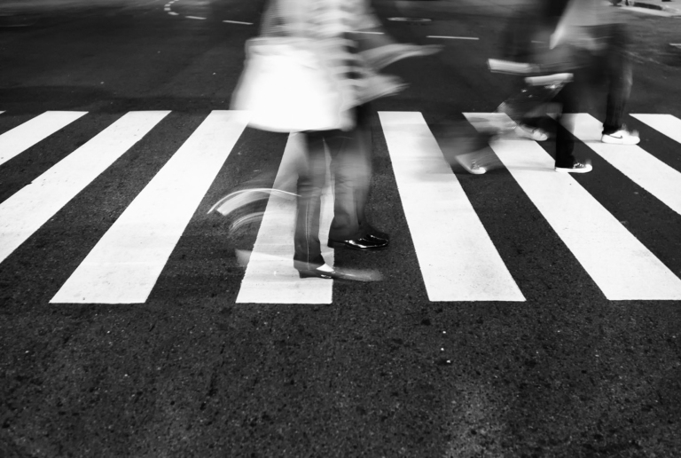 People in motion at a busy intersection. Taipei, Taiwan