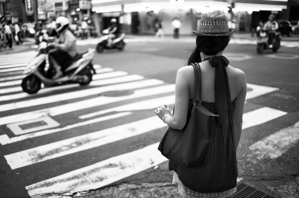 Waiting to cross.