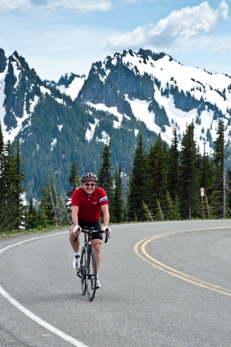 This was one of the most memorable rides, heading up Mount Rainier. Seattle, Washington. Photo credit: Tom Collins