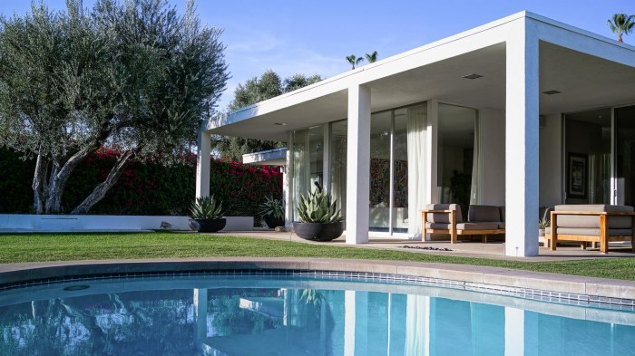 Outside living areas and pools