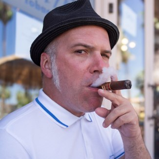 A friend enjoying a cigar. (Palm Springs, California)
