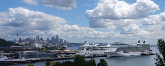 Looking south from the Magnolia neighborhood over the cruise ship docks. Occasionally, Mt. Rainier pops its head out near the skyline.