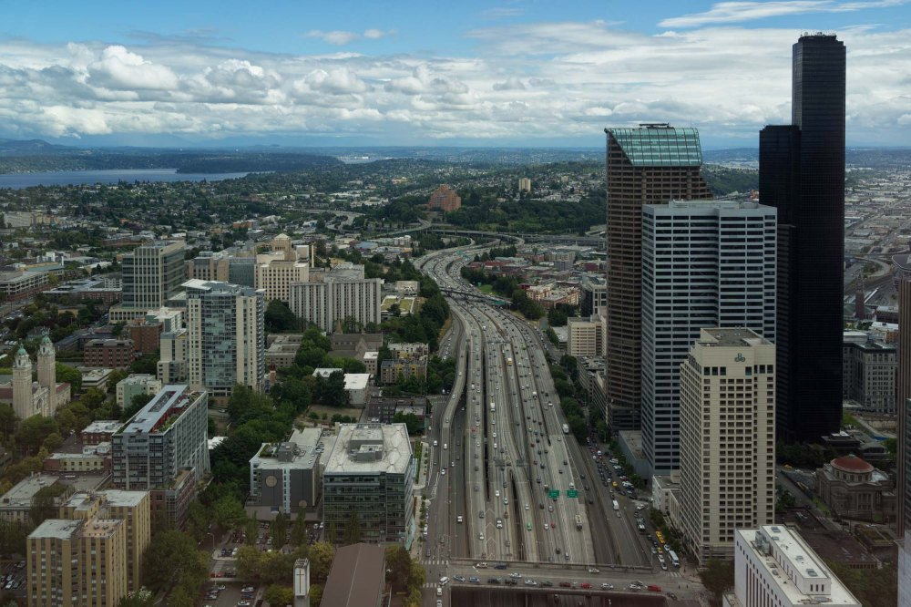 This is the southerly view from the office of a friend. Interstate 5 runs right through the heart of the downtown corridor.