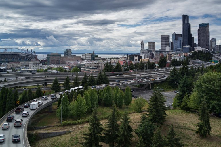 This is a popular spot for photographs of Seattle skyline. Basically, it's at the foot of Amazon's original headquarters, just above the international district.