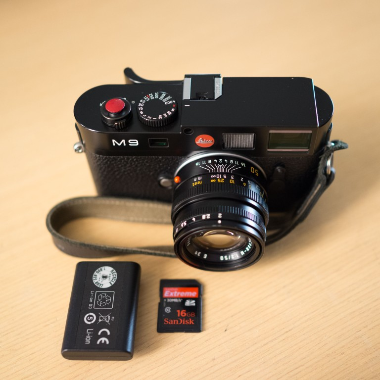 Leica M9, 50mm Summicron, SD card and spare battery. This will get me through a full day of shooting.