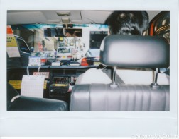 The inside of your typical Toyota Crown taxi.