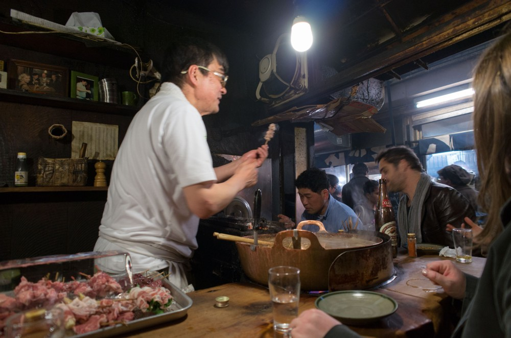 Yakitori Alley in Shinjuku. No need for a menu, just eat what you are served and enjoy.