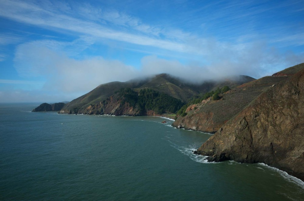 The Marin Headlands from the north end of the Golden Gate bridge, west side. (Ricoh GR)