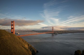 It's almost cliche to take this photo, but it's unavoidable. The Golden Gate bridge from Hawk Hill. (Ricoh GR)