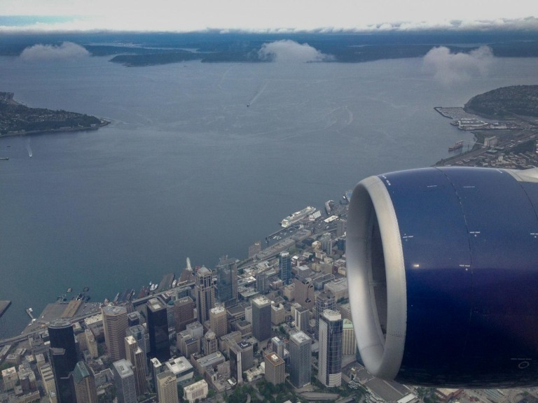 Crossing over home, downtown Seattle