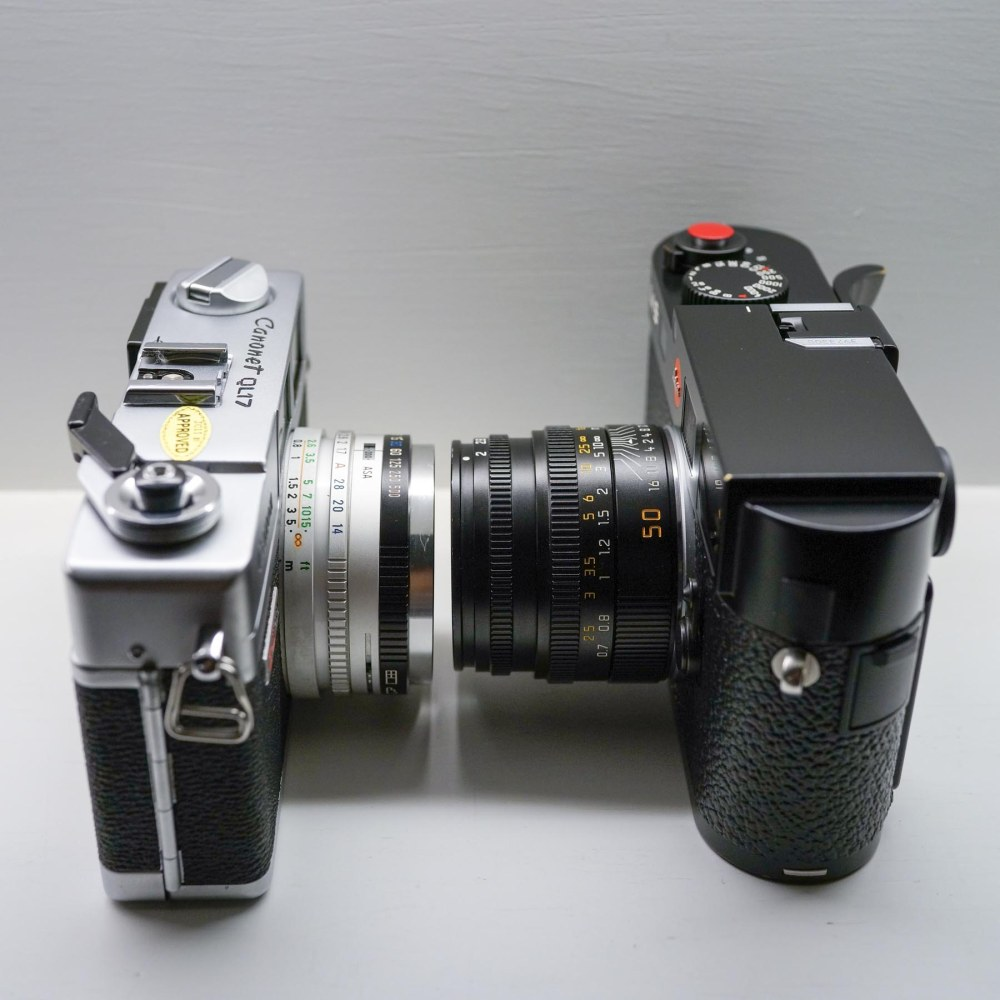 The QL17 GIII and its 40mm f/1.7 lens and the Leica M9 with a 50mm Summicron (f/2).