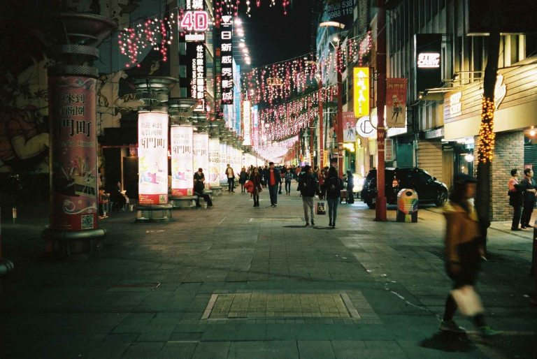 One of the many pedestrian streets in the area (Canon Canonet QL17 with Kodak Portra 400)