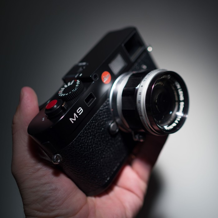 Leica M9 with Canon 50mm f/1.4 lens mounted.