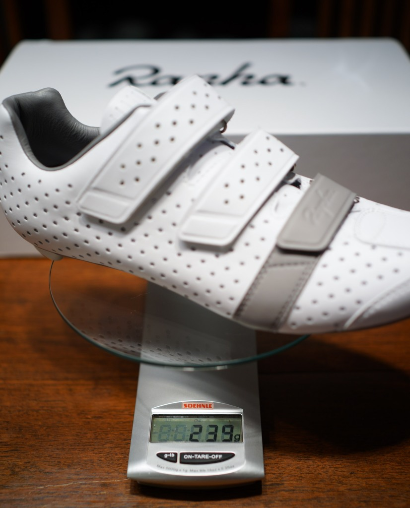 With the Climber's shoes weight is everything. These 44.5 shoes weigh in at 239 grams, Rapha claims 210 grams for the 42.5 shoes. (Sony RX1r)