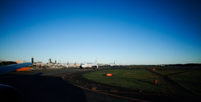 Lined up for takeoff from Narita International Airport, Tokyo. (Ricoh GR with 21mm wide angle adapter)