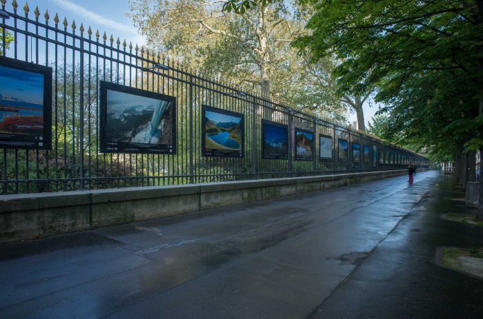 The border of the park works as a 24/7 gallery with large, beautifully printed and installed photographs.