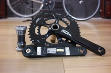 The bottom bracket, Left crank (with power meter) and right side crank with 50/34 compact chainrings.