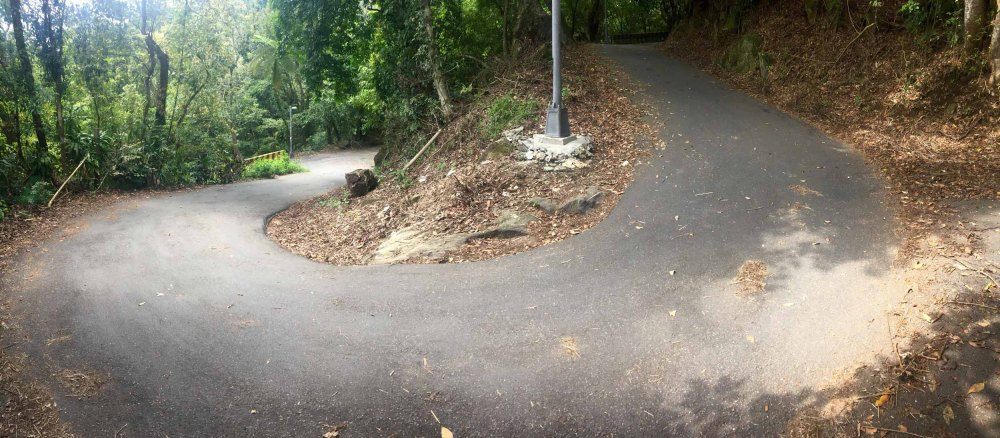 Nicknamed goat road. It has several spots that sit at a 25% grade at it just about touches 30% at one point. It's struggle to keep the front wheel down and requires you to lean quite a ways forward to put some weight over the front end of the bike.