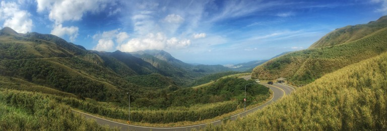 This was taken from the top of a 2,585ft climb. From here it is about 12 miles to the north coast of Taiwan.