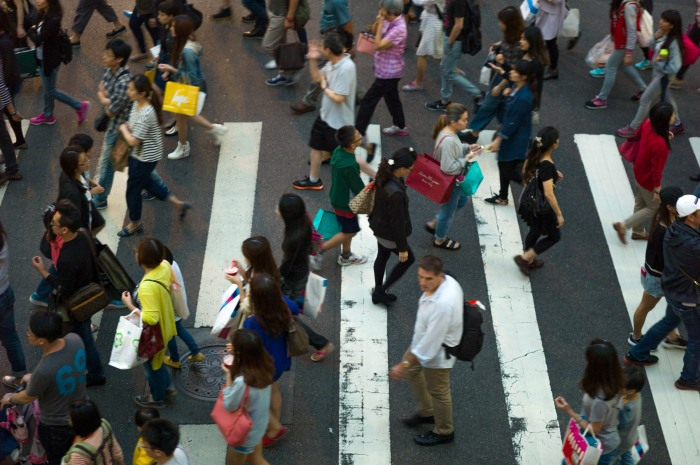 Busy crossing near Taipei 101. I'm a HUGE fan of crosswalks, especially from this perspective. Leica M9 and 75mm Summarit.