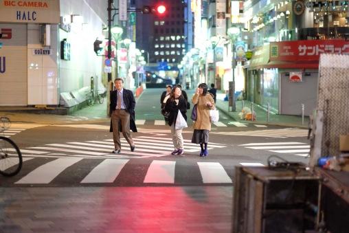 Late night Tokyo near Shinjuku Station.