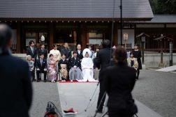A beautiful wedding ceremony at the Nogi Shrine.